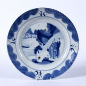 Blue and white dish Chinese, Kangxi Period (1662-1722) decorated to the interior with a central