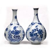 Two small Chinese bottle vases Chinese Kangxi (1662-1722) each of panelled design with rockwork,