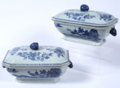 Pair of export lidded tureen and covers Chinese, 18th Century decorated to the sides depicting