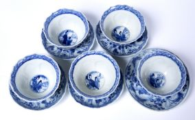 Five blue and white tea bowls Chinese, 18th Century decorated with repeating panels of figures and