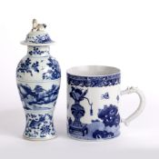 Blue and white vase Chinese, 19th Century decorated to the body with a central band depicting a