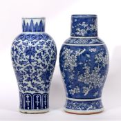 Two blue and white vases Chinese, 19th Century the first decorated in Indian lotus leaf pattern with