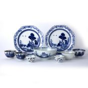 Pair of blue and white porcelain plates Chinese, early 19th Century each painted in the 'buffalo'