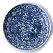 Blue and white porcelain dish Chinese, 19th Century with dragons and lotus flowers, four character