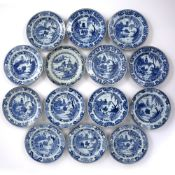 Set of thirteen export blue and white plates Chinese, circa 1800 decorated to the centre with a