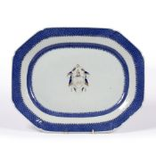 Porcelain Armorial charger Chinese, Qianlong period with 'Fitzhugh' type blue border and central