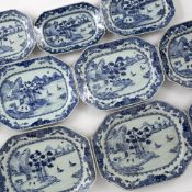 Set of eleven export blue and white serving dishes Chinese, circa 1800 decorated to the centre