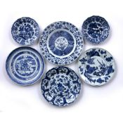 Pair of blue and white small dishes Chinese, 18th Century 15.5cm across and four other Chinese