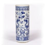 Blue and white porcelain stick stand Chinese, 19th Century painted with a dragon and peonies, within