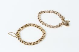 TWO YELLOW PRECIOUS METAL BRACELETS, each of hollow curb-link design, the first unmarked, the second