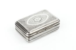 A GEORGE III SILVER RECTANGULAR SNUFF BOX, the cover engraved with an oval panel of flowers and