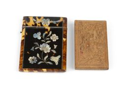 A 19TH CENTURY TORTOISESHELL CARD CASE, inlaid in mother of pearl with flowers, 10.5cm, and an