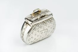 A GEORGE III SILVER VINAIGRETTE, in the form of a bag, with twin loop handles and chequered
