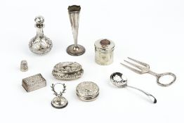 A SMALL COLLECTION OF SILVER, comprising a late Victorian repoussé decorated oval small box and
