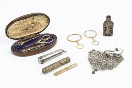 A 19TH CENTURY FRENCH SILVER GILT SEWING SET, comprising scissors, owl and needle case (lacking