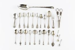A GEORGE III SILVER BEADED GRAVY SPOON, by George Smith III, London 1784, a pair of silver grape