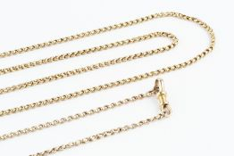 A YELLOW PRECIOUS METAL FANCY-LINK LONG CHAIN, with swivel clasp, length 156cm