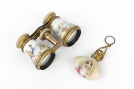 A PAIR OF LATE 19TH CENTURY ENAMEL, GILT METAL AND MOTHER OF PEARL OPERA GLASSES, painted with
