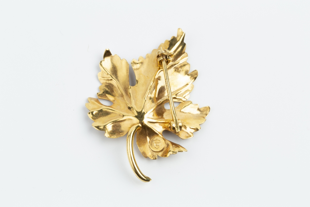 A CULTURED PEARL SET BROOCH BY TIFFANY & CO, modelled as a maple leaf, with single cultured pearl - Image 2 of 2