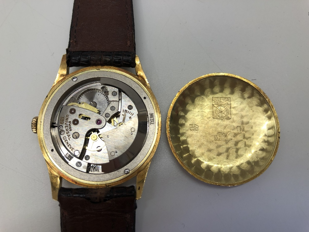 A GENTLEMAN'S AUTOMATIC WRISTWATCH BY UNIVERSAL GENÉVE, the circular silvered dial with gilt baton - Image 5 of 7