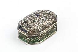 A 19TH CENTURY SILVER AND CHAMPLEVE ENAMEL SNUFF BOX, of elongated octagonal form, with domed,