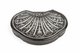 A CONTINENTAL LATE 18TH CENTURY TORTOISESHELL AND SILVER INLAID SNUFF BOX, of scalloped form, the