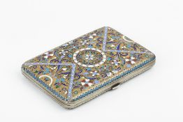 AN EARLY 20TH CENTURY RUSSIAN CLOISONNÉ ENAMEL CIGARETTE CASE, decorated to both sides with stylised