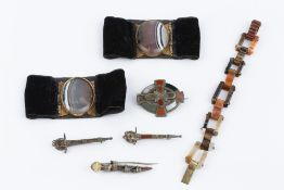 A COLLECTION OF HARDSTONE JEWELLERY, comprising an agate fancy-link panel bracelet, a pair of