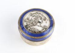 A FRENCH ART NOUVEAU SILVER CIRCULAR BOX AND COVER, the cover with embossed roundel depicting a