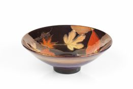 Jonathan Chiswell Jones (b.1944) Autumn Leaves bowl reduction fired lustre painted potter's monogram