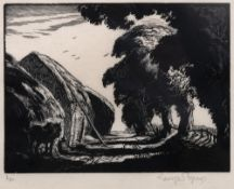 George Soper (1870-1942) Haystacks by a country lane 6/50, signed and numbered in pencil (in the