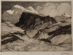 Pierre Adolphe Valette (1876-1942) French Alps, 1915 signed in pencil (in the margin) etching 17 x