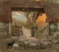 Charles Hodge Mackie (1862-1920) The Return of the Flock signed in pencil (lower left) woodcut 35