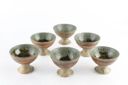 Mo Abbaro (Mo Abdalla) (1933-2016) A set of six stem cups stoneware with mottled glaze each