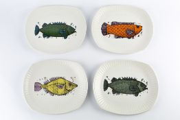 Washington Pottery Nine plates four from the Aquarius (fish series), five from Beefeater (steak