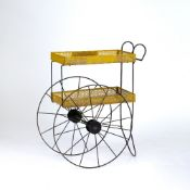 Attributed to Mathieu Mategot Trolley, circa 1950 two tiers, metal with yellow and black paint
