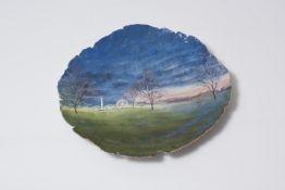Claudia Clare (Contemporary) Hyde Park, Autumn Fairground, 2014 hand-built slip decorated plate