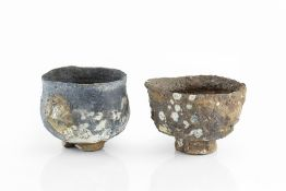 Charles Bound (b.1939) Two footed bowls wood-fired impressed potter's seals 15cm and 12cm