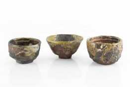 Charles Bound (b.1939) Three small bowls wood-fired impressed potter's seals 11cm, 12cm, and 13cm