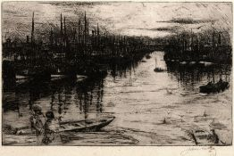 James McBey (1883-1959) Albert Basin, Amerdeen, 1905 signed in pencil (lower right) etching 17 x