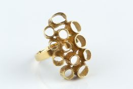 Jack Spencer 18ct gold dress ring abstract and textured hoop design with shield-shaped maker's