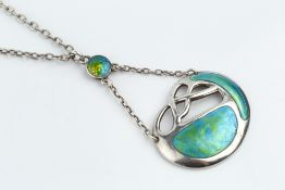 Charles Horner Silver and enamel pendant signed, Chester hallmark for 1911 on a trace-link chain the