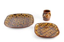 John Pollex (b.1941) Two rectangular dishes and a vase slipware impressed potter's seals largest