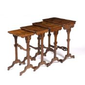 Emile Gallé (1846-1904) Nest of four tables marquetry, inlaid in various woods depicting birds and