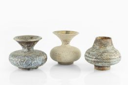 Waistel Cooper (1921-2003) Three vases with textured glazes each signed tallest 14cm high (3).