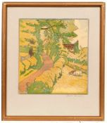 Hall Thorpe (1874-1947) Cows by a Country Path signed in pencil (lower right) woodcut 24 x 20cm.