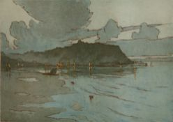 Nelson Dawson (1859-1941) Scarborough signed and titled in pencil (in the margin) woodblock 27 x