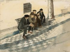 Ray Evans (1920-2008) Old Men of Pollenca signed (lower left), titled (lower right) watercolour 19 x