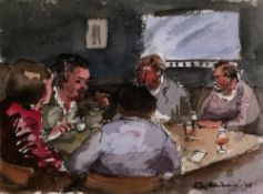 Roy Hammond (b.1934) The card game, 2005 signed and dated (lower right) watercolour 13 x 18cm.