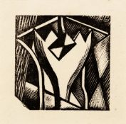 Paul Nash (1889-1946) Stylised Flower wood engraving from the 1928 plate used by the Curwen Press